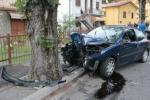 Un'auto contro un albero (Foto d'archivio)