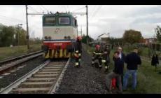 Una locomotiva ha preso fuoco a Polesella