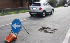Disagi per un buca in viale Porta Po <br/> traffico a passo d'uomo