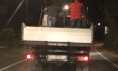 Che ci fanno quei due sul cassone del camion del comune?