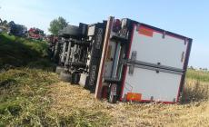 Paura sulla provinciale, si ribalta il camion frigo