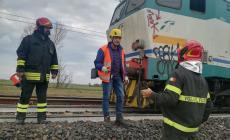 Locomotore a fuoco in stazione a Polesella