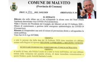 """Ordinanza choc in un comune della Calabria: """"Arresto per chi viene da Lombardia e Veneto"""""""