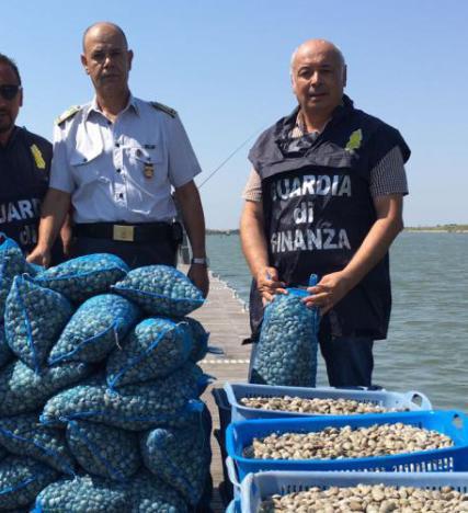Una tonnellata di vongole sequestrata e rigettata in mare dalle fiamme gialle